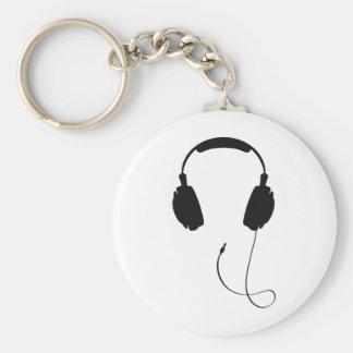 Headphones Basic Round Button Keychain
