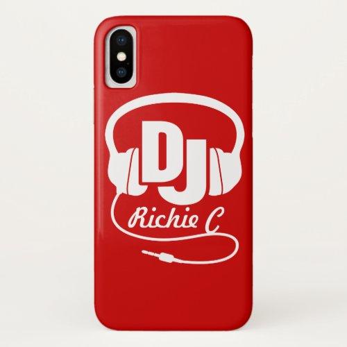 Headphones DJ custom name red and white graphic Phone Case