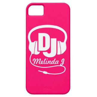 Headphones DJ girl name pink & white iphone 5 case