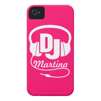 Headphones DJ girl named pink & white iphone case Tough Iphone 4 Cover