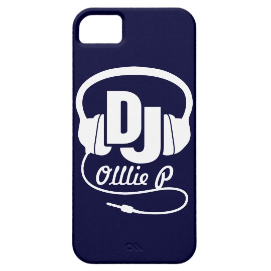 Headphones DJ named blue and white iphone 5 case