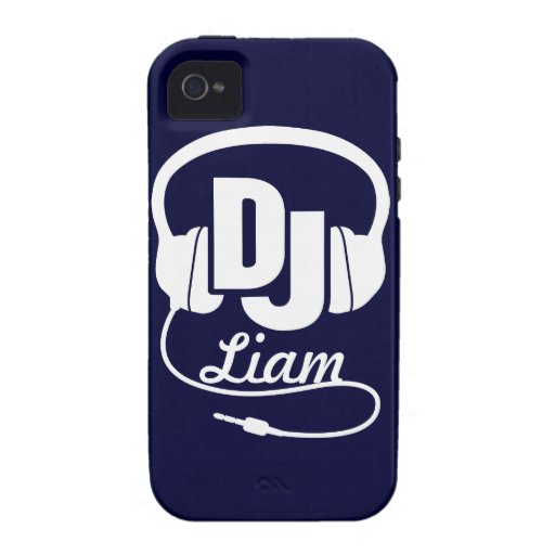 Headphones DJ named blue and white iphone case