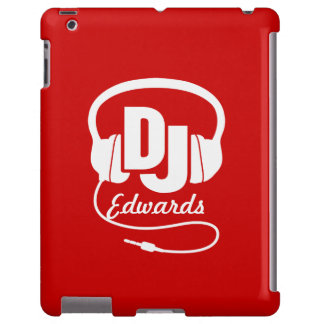 Headphones DJ named red and white ipad case