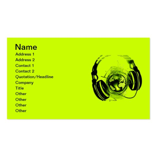 Headphones Double-Sided Standard Business Cards (Pack Of 100)