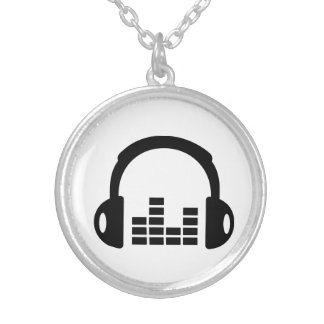 Headphones equalizer silver plated necklace