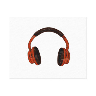 Headphones Grunge Faded Red Brown Graphic Canvas Print
