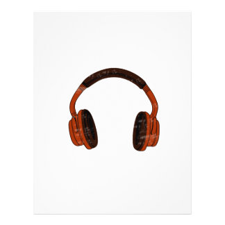 """Headphones Grunge Faded Red Brown Graphic 8.5"""" X 11"""" Flyer"""