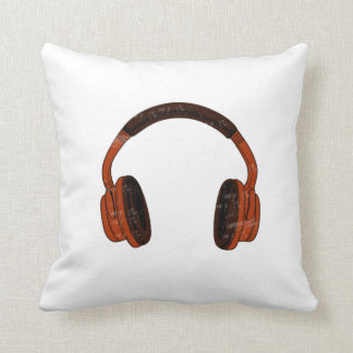 Headphones Grunge Faded Red Brown Graphic Pillow