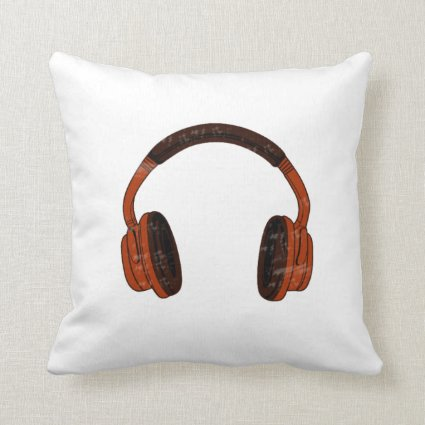 Headphones Grunge Faded Red Brown Graphic Pillows