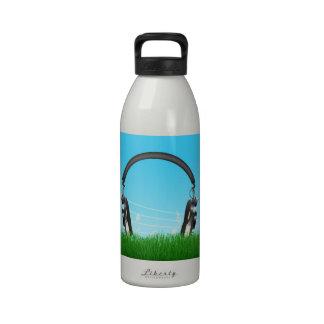 Headphones in Grass Reusable Water Bottles