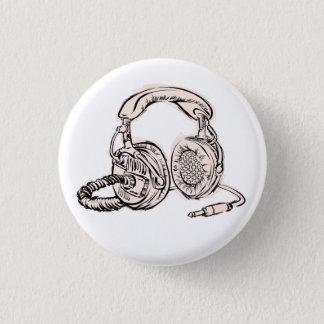Headphones - Light Blue Pinback Button