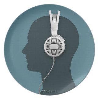 Headphones Melamine Plate