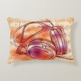 Headphones on a watercolor background & notes accent pillow