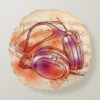 Headphones on a watercolor background & notes round pillow