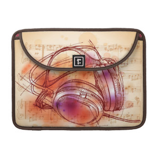 Headphones on a watercolor background & notes sleeve for MacBooks