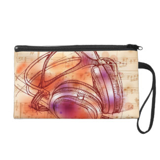 Headphones on a watercolor background & notes wristlet