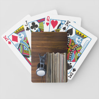 Headphones on Records Bicycle Playing Cards