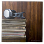 Headphones on Records Large Square Tile