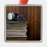 Headphones on Records Metal Ornament