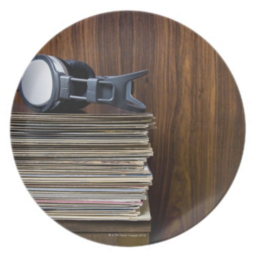 Headphones on Records Party Plate