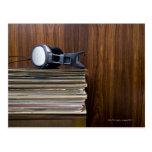 Headphones on Records Postcard
