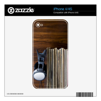Headphones on Records Skin For iPhone 4