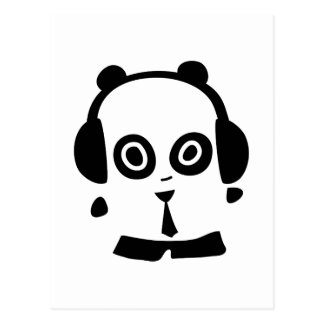 Headphones Panda Postcard