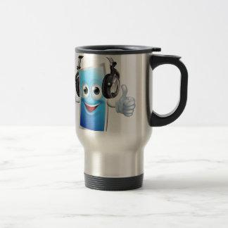 Headphones phone man coffee mugs