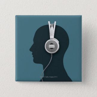 Headphones Pinback Button
