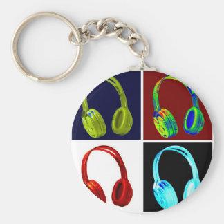 Headphones Pop Art Basic Round Button Keychain