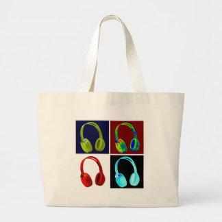 Headphones Pop Art Large Tote Bag