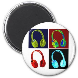 Headphones Pop Art 2 Inch Round Magnet