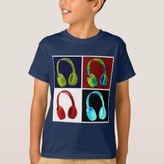 Headphones Pop Art Navy Color T-Shirt