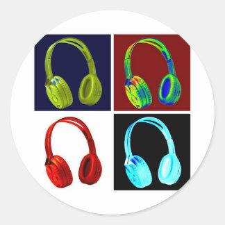 Headphones Pop Art Classic Round Sticker