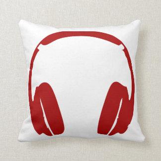 Headphones Throw Pillow (Dark Red)