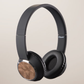 Headphones with Brown Leather Design
