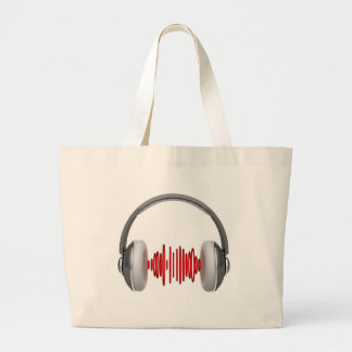 Headphones with sound waves tote bags