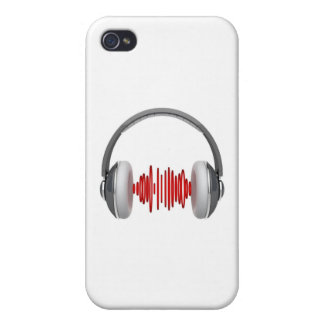 Headphones with sound waves iPhone 4/4S cover