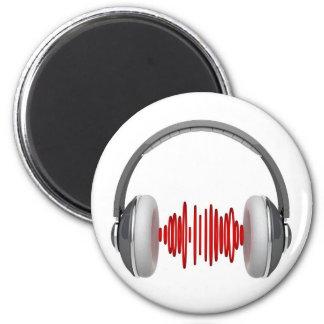 Headphones with sound waves fridge magnet