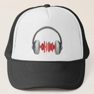 Headphones with sound waves trucker hat