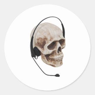 HeadphoneSkull042109 Classic Round Sticker