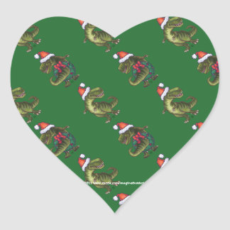Heads and Tails Festive TRex Green Pattern Heart Sticker