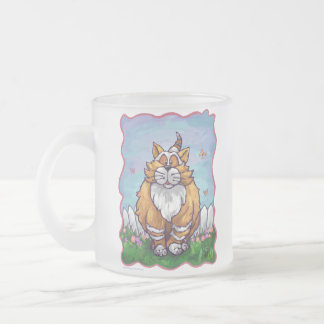 Heads and Tails Ginger Cat Frosted Glass Coffee Mug