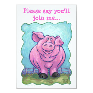 Heads and Tails Pig Party Invitation