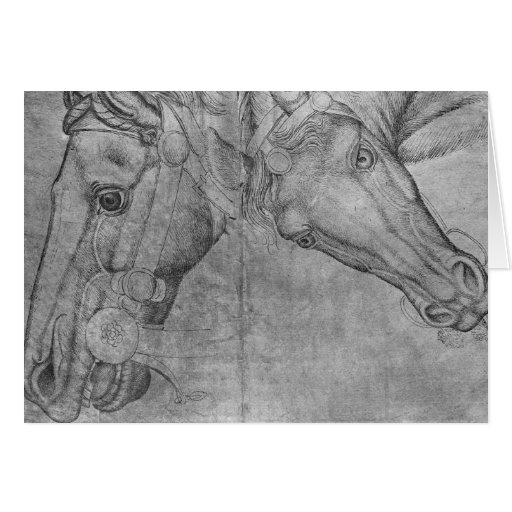 Heads of horses, from the The Vallardi Album Greeting Card