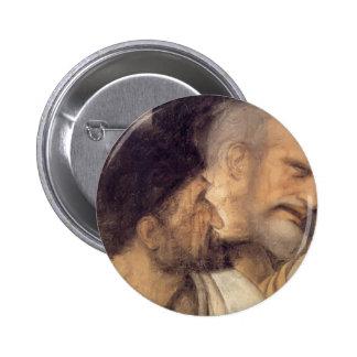 Heads of Judas and Peter by Leonardo da Vinci Buttons