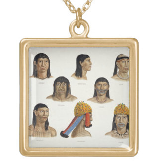 Heads of South American Indians, from 'Travels in Gold Plated Necklace