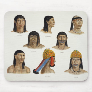 Heads of South American Indians, from 'Travels in Mouse Pad