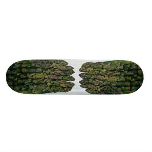 Heads of steaming green asparagus skate board deck