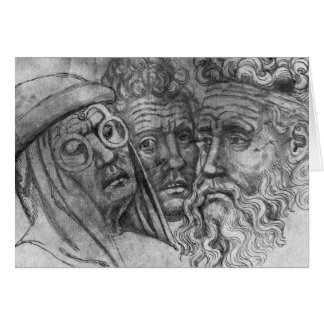 Heads of three men, from the The Vallardi Album Card